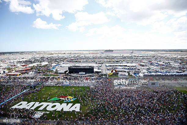 A general view of prerace festivities as Kid Rock performs a concert on the infield prior to the NASCAR Sprint Cup Series 57th Annual Daytona 500 at...