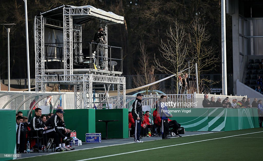 A general view of press facility during the U17 International Friendly match between Germany and Georgia at Toennies-Arena on March 6, 2013 in Rheda-Wiedenbruck, Germany.