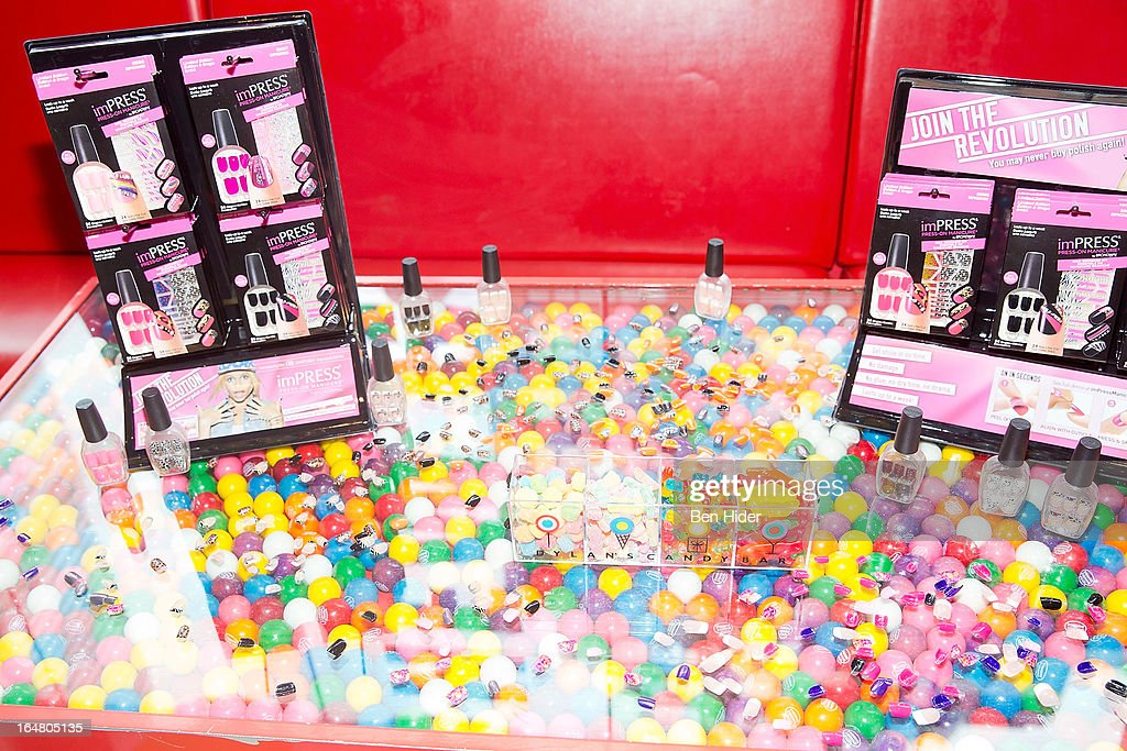 A general view of press on nails beauty products at the Alli Simpson Signature Nail Series Launch Event at Dylan's Candy Bar on March 28, 2013 in New York, New York.