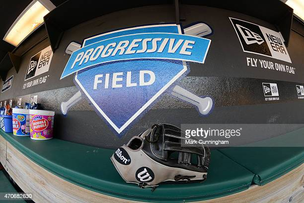 A general view of Progressive Field dugout signage prior to the game between the Detroit Tigers and the Cleveland Indians at Progressive Field on...