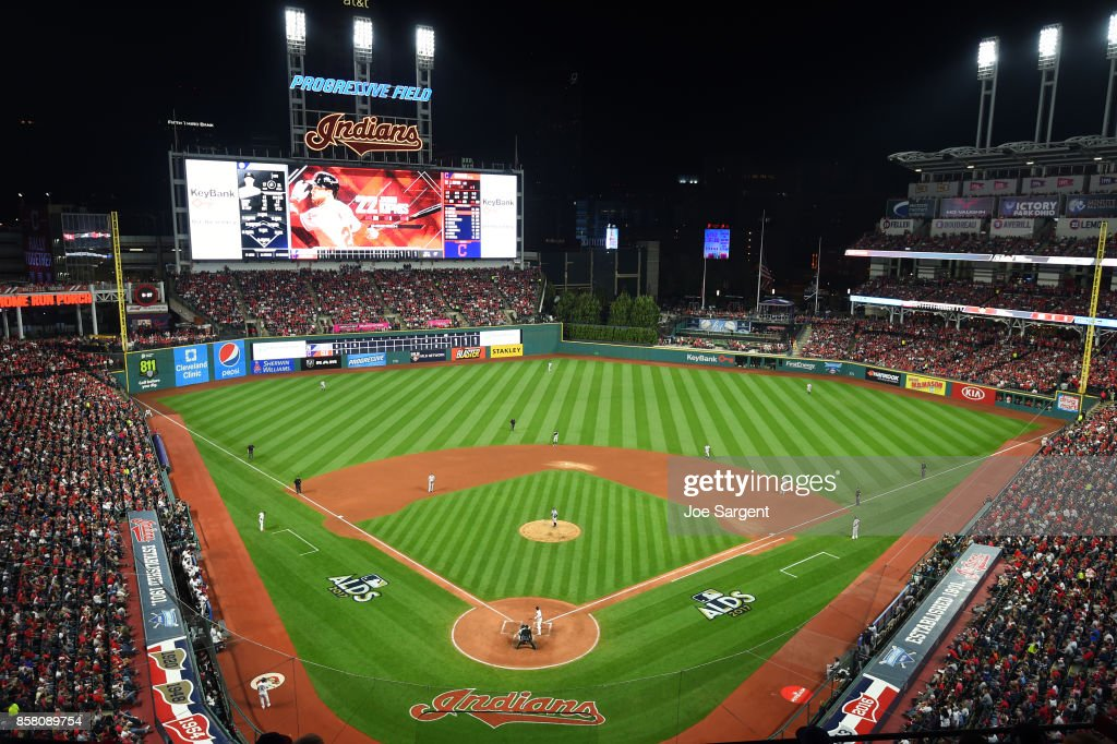 A general view of Progressive Field during Game 1 of the American League Division Series between the New York Yankees and the Cleveland Indians on Thursday, October 5, 2017 in Cleveland, Indians.