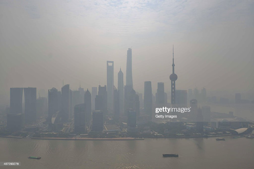 A general view of Pudong Lujiazui Financial District in heavy smog is seen on October 16 2014 in Shanghai China A report from Shanghai Environmental...