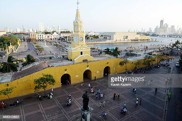 CARTAGENA of INDIAS COLOMBIA JANUARY 28 2015 A general view of Puerta del Reloj with the clock tower above the three main gates entering the old city...