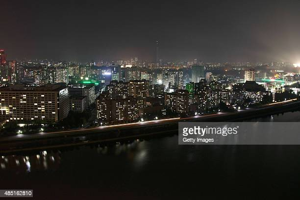 A general view of Pyongyang cityscape from Yanggakdo Hotel in night on August 23 2015 in Pyongyang North Korea North and South Korea today came to an...