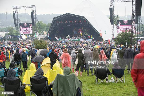 General view of Pyramid Stage as rain pours down on day 2 at Worthy Farm on June 26 2009 in Glastonbury England