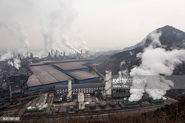 A general view of Qian'an steelworks of Shougang Corporation on January 20 2016 in Tangshan China Shougang Corporation is one of the most largest...