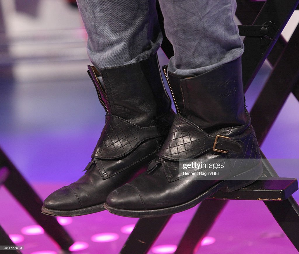 A general view of Q's shoes during 106 & Park at BET studio on March 31, 2014 in New York City.