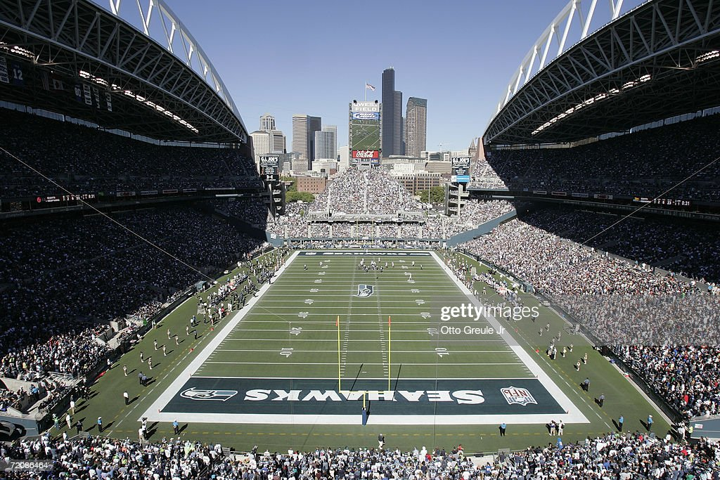 General view of Qwest Field from the endzone during the NFL game between the Seattle Seahawks and the New York Giants on September 24 2006 in Seattle...