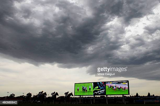 General view of Race 2 during the cool weather change during Melbourne Racing at Moonee Valley Racecourse on January 3 2015 in Melbourne Australia