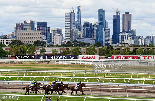 General view of Race 2 the Mrs Macs Family Bakery Sprint during Australian Guineas Day at Flemington Racecourse on March 7 2015 in Melbourne Australia