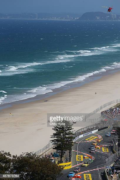 General view of race 32 during the Gold Coast 600 which is round 12 of the V8 Supercars Championship Series at the Surfers Paradise Street Circuit on...