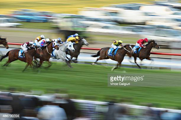 General view of Race 9 won by Michael Dee riding Digitalism during Melbourne Racing at Moonee Valley Racecourse on September 5 2015 in Melbourne...