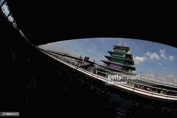A general view of race action and the Panasonic Pagoda during the NASCAR Sprint Cup Series Crown Royal Presents the Combat Wounded Coalition 400 at...
