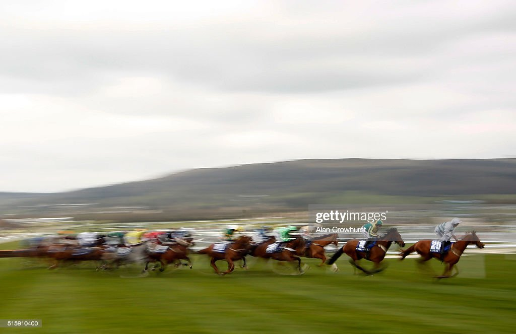 A general view of race action at Cheltenham racecourse on March 16 2016 in Cheltenham England