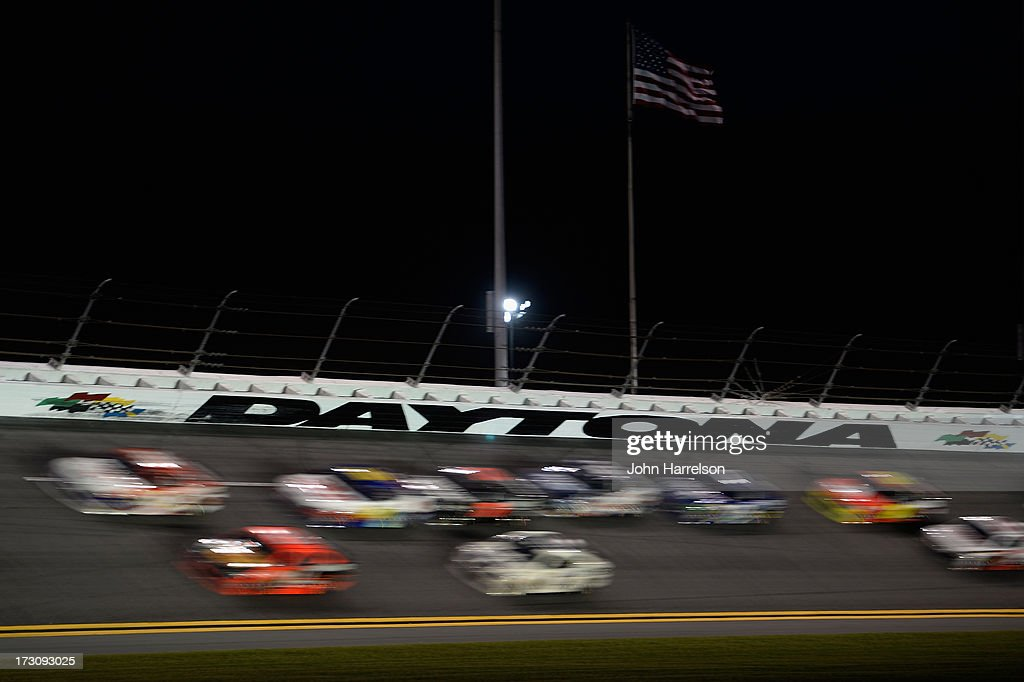 A general view of race action during the NASCAR Sprint Cup Series Coke Zero 400 at Daytona International Speedway on July 6, 2013 in Daytona Beach, Florida.