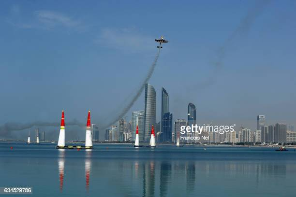 A general view of race action during the Red Bull Air Race on February 10 2017 in Abu Dhabi United Arab Emirates