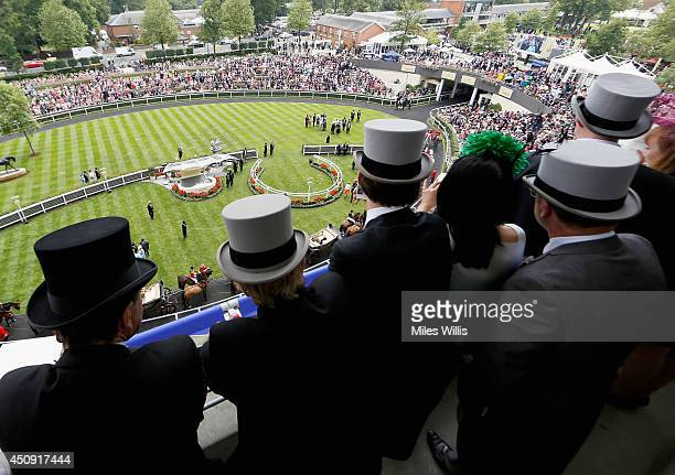 A general view of race goers looking over the winner enclosure during day three of Royal Ascot at Ascot Racecourse on June 19 2014 in Ascot England