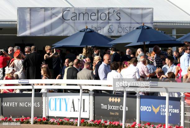 General view of Racegoers at Camelot's Bar and Bistro during Investec Derby Day 2014 at Epsom Downs Racecourse