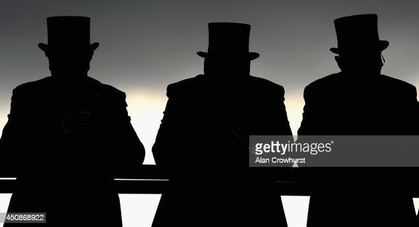 A general view of racegoers in silhouette during day three of Royal Ascot at Ascot Racecourse on June 19 2014 in Ascot England