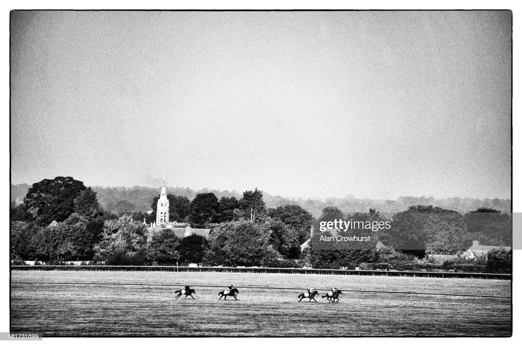 A general view of racehorses working on Long Hill gallops on September 24, 2013 in Newmarket, England.