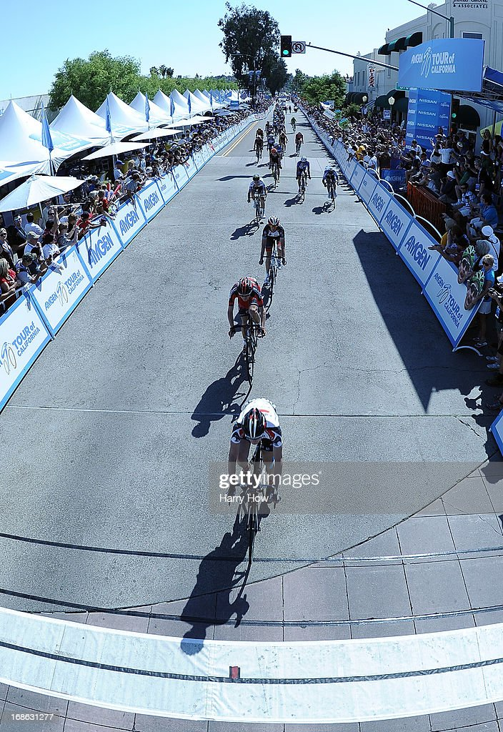 General view of racers approaching the finish line to end Stage 1 of the Amgen Tour of California on May 12, 2013 in Escondido, California.
