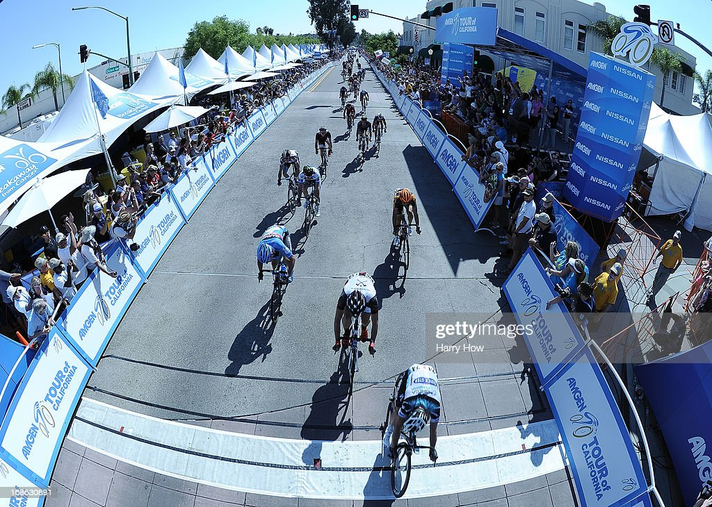 General view of racers as they ride to the finish during Stage 1 of the Amgen Tour of California in Escondido, California on May 12, 2013 in Los Angeles, United States.