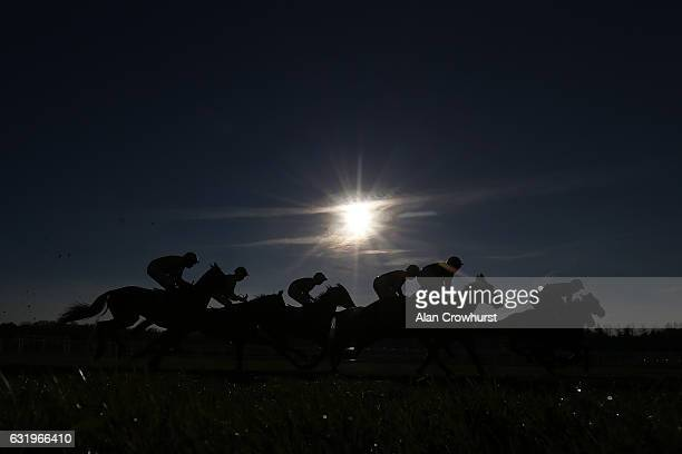 A general view of racing at Newbury Racecourse on January 18 2017 in Newbury England