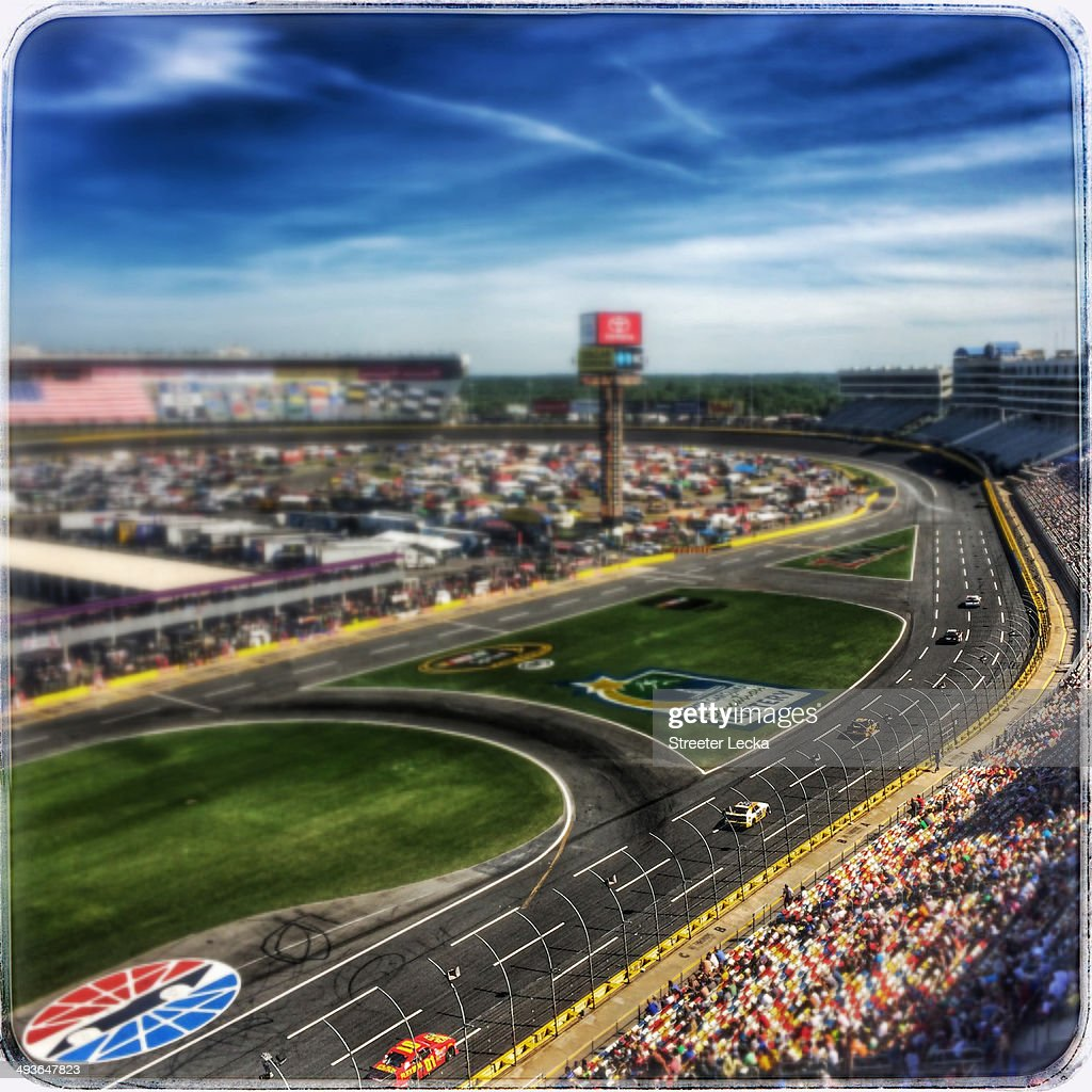 A general view of racing during the NASCAR Nationwide Series History 300 at Charlotte Motor Speedway on May 24 2014 in Charlotte North Carolina