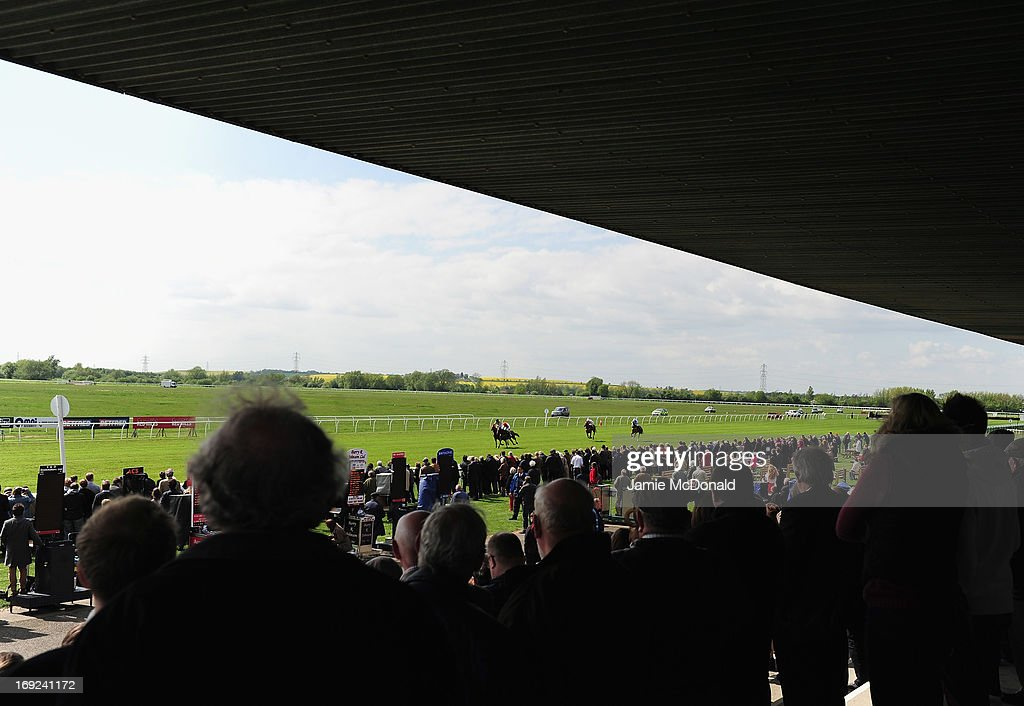 A general view of racing from the Huntingdon grandstand during racing at Huntingdon race course on May 22, 2013 in Huntingdon, England.