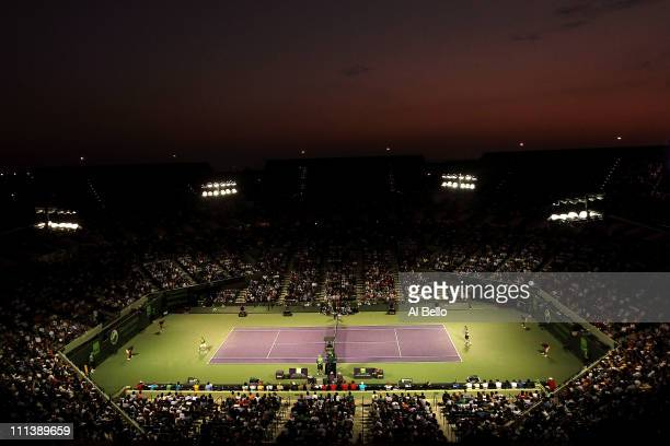 A general view of Rafael Nadal of Spain hitting a return against Roger Federer of Switzerland during their men's semifinal match at the Sony Ericsson...