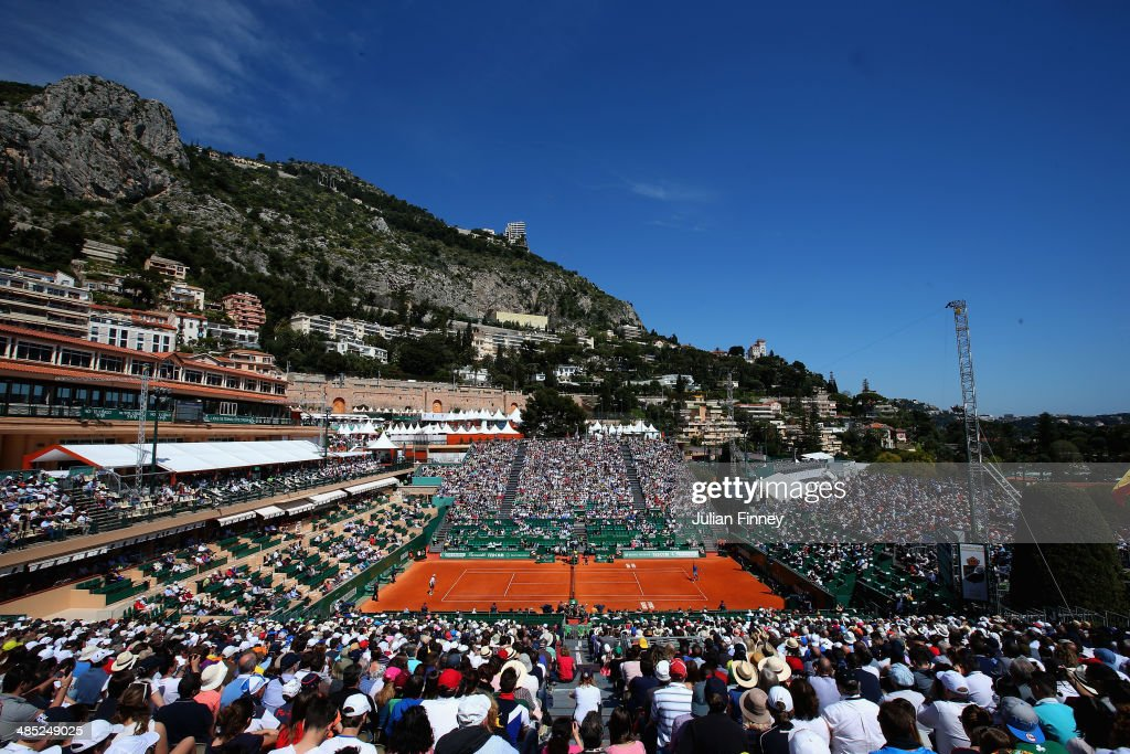 A general view of Rafael Nadal of Spain in action against Andreas Seppi of Italy during day five of the ATP Monte Carlo Rolex Masters Tennis at Monte-Carlo Sporting Club on April 17, 2014 in Monte-Carlo, Monaco.