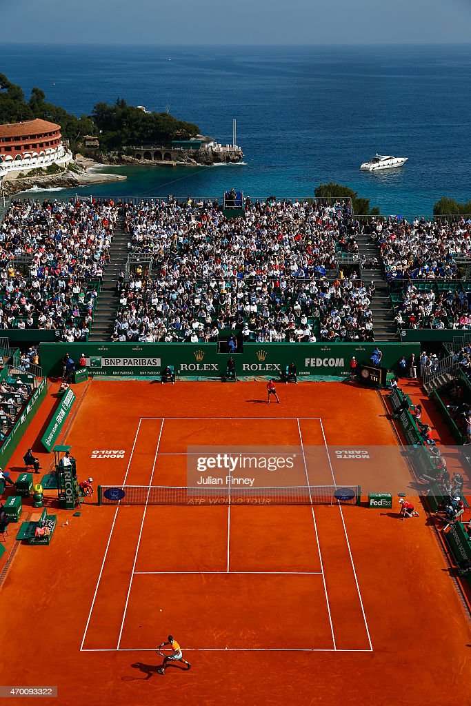 A general view of Rafael Nadal of Spain in action against David Ferrer of Spain during day six of the Monte Carlo Rolex Masters tennis at the Monte-Carlo Sporting Club on April 17, 2015 in Monte-Carlo, Monaco.