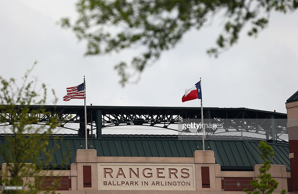 A general view of Rangers Ballpark in Arlington before a game between the Tampa Bay Rays and the Texas Rangers on April 8 2013 in Arlington Texas