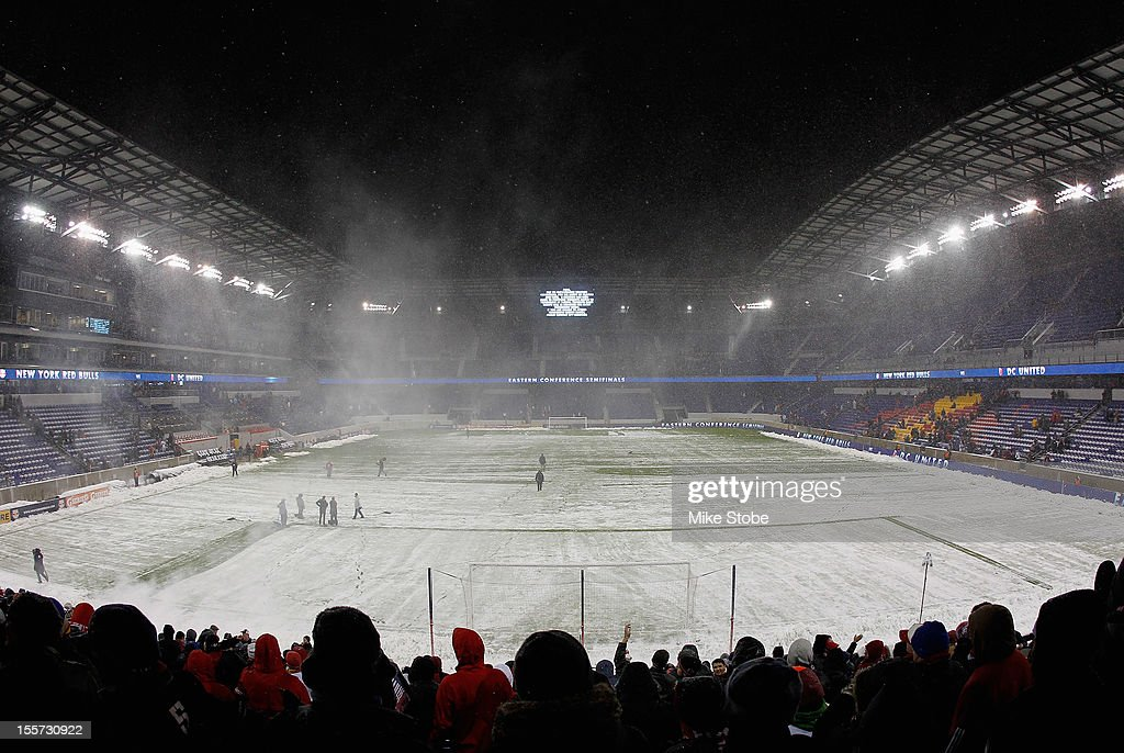 A general view of Red Bull arena during a weather delay prior to the match between the New York Red Bulls and the D.C. United at Red Bull Arena on November 7, 2012 in Harrison, New Jersey.
