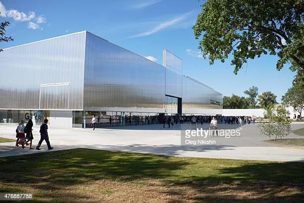 General view of Rem Koolhaasdesigned new building of Garage Museum of Contemporary Art in Gorky Park on June 12 2015 in Moscow Russia Garage Museum...