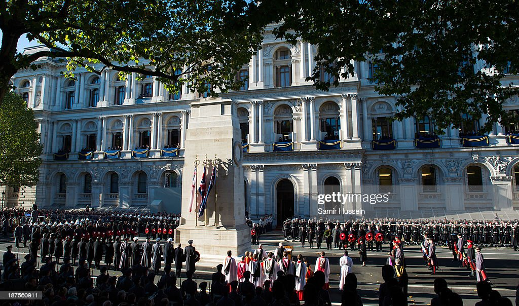 A general view of Remembrance Sunday at the Cenotaph on Whitehall on November 10, 2013 in London, England.