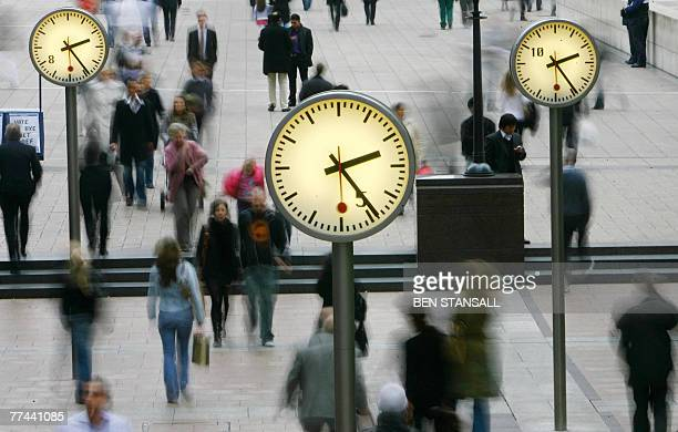 A general view of Reuters Square in Canary Wharf is pictured in east London 22 October 2007 The FTSE dropped 100 points in the opening minutes of...