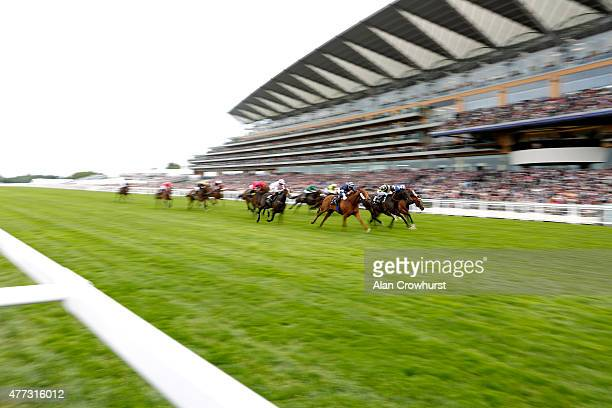 General view of riders during The King's Stand Stakes race during Royal Ascot 2015 at Ascot racecourse on June 16 2015 in Ascot England