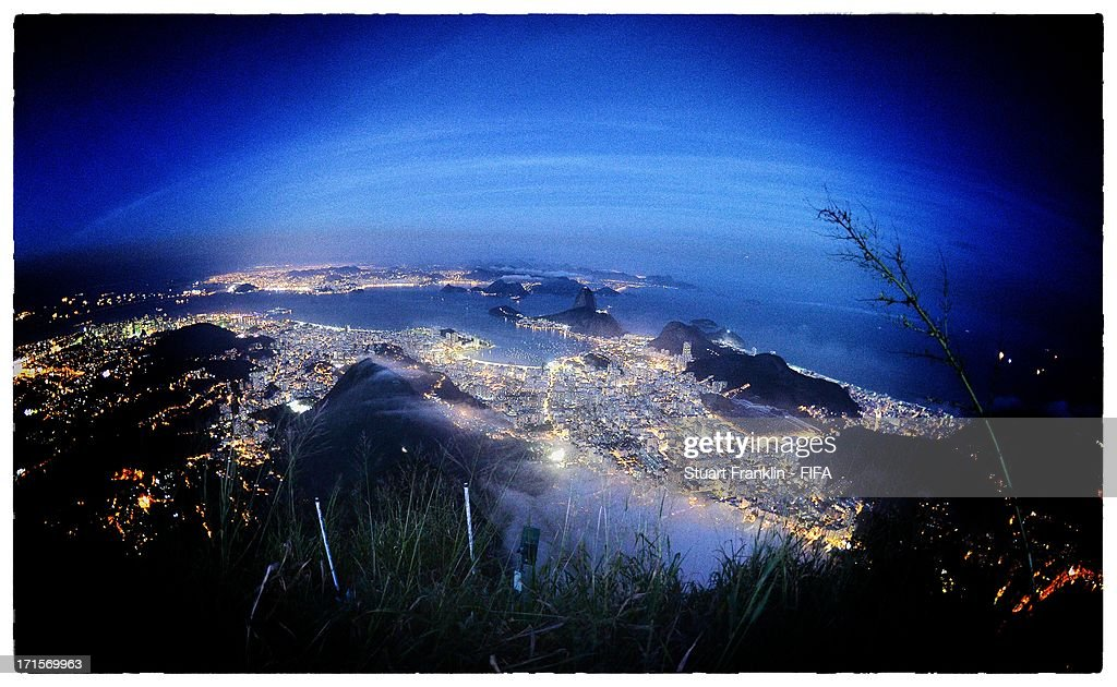 A general view of Rio de Janeiro from the Christ the redeemer staute on June 26, 2013 in Rio de Janeiro, Brazil. (Photo by Stuart Franklin - FIFA/FIFA via Getty Images).
