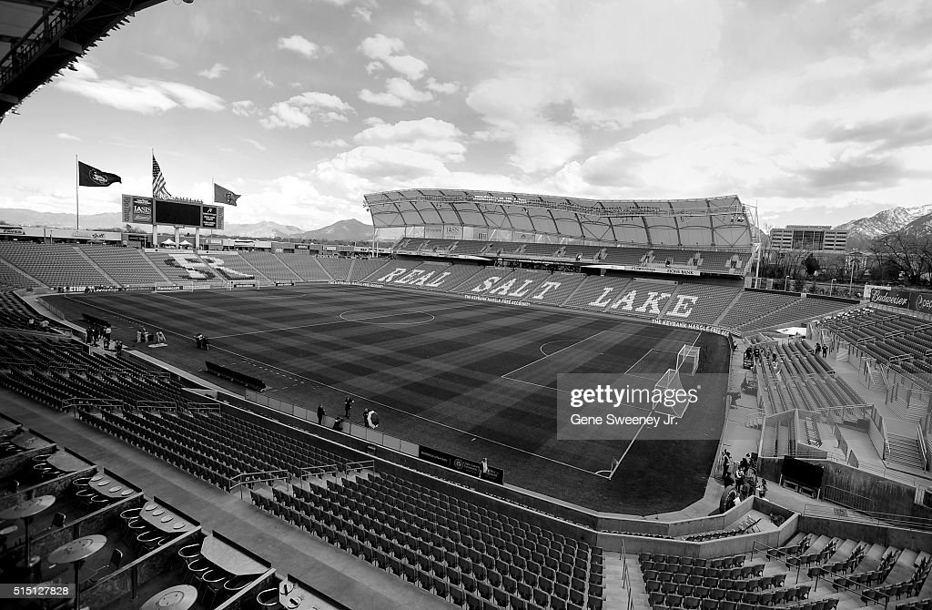 General view of Rio Tinto Stadium before the Seattle Sounders play Real Salt Lake on March 12, 2016 in Sandy, Utah.