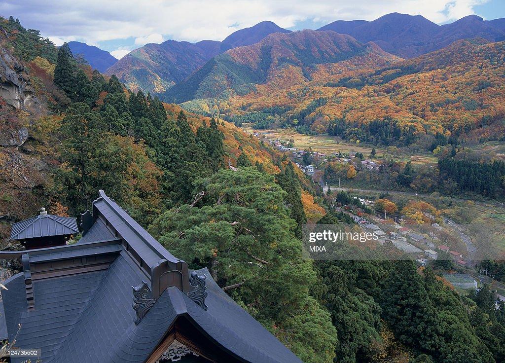 A general view of Risshakuji Temple on November 1 2008 in Yamagata Japan