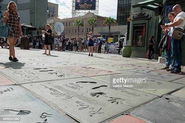 General view of Robin Williams' hand and foot prints infrpnt of the TCL Chinese Theater on August 12 2014 in Los Angeles California