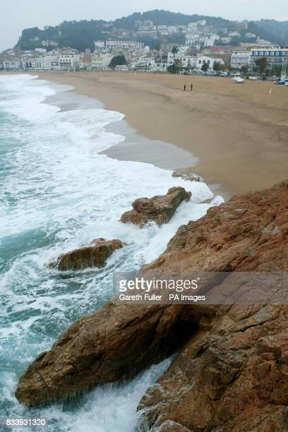 A general view of rocks on the beach where Symon Howlett and his 5 yearold son Jay died when a freak wave hit them as they posed for pictures