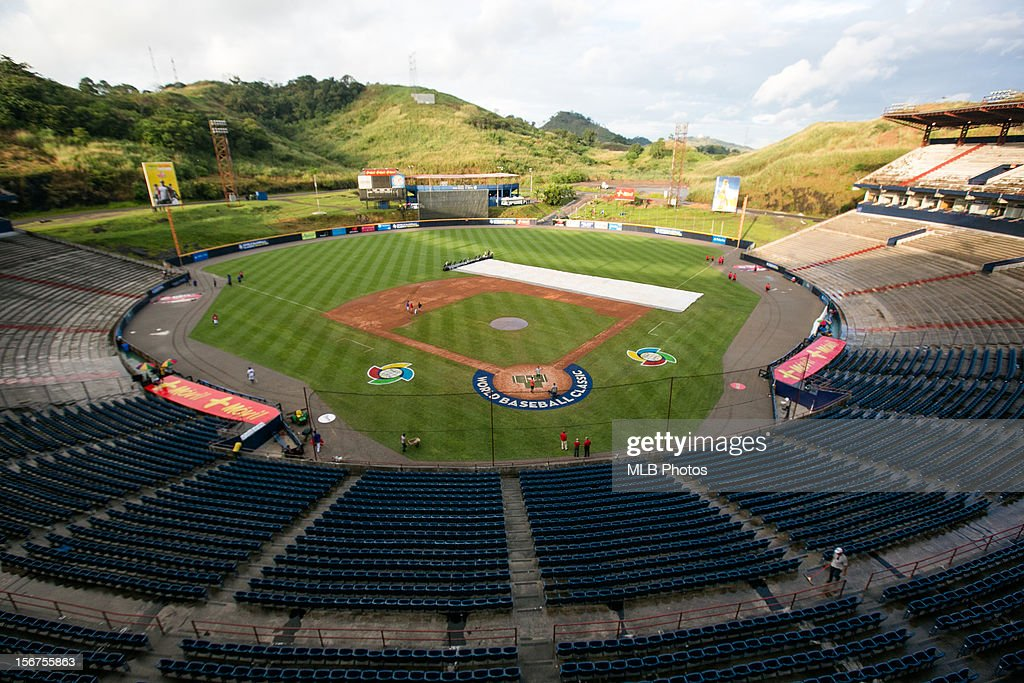 A general view of Rod Carew National Stadium from the upper deck behind home plate before Game 5 of the Qualifying Round of the World Baseball Classic against Team Nicaragua at Rod Carew National Stadium on Sunday, November 18, 2012 in Panama City, Panama.
