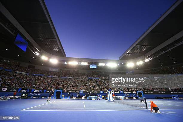 A general view of Rod Laver Arena as Andy Murray of Great Britain serves in his semifinal match against Tomas Berdych of the Czech Republic during...