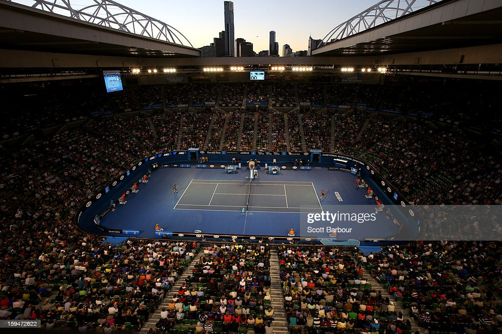 A general view of Rod Laver Arena as Lleyton Hewitt of Australia competes against Janko Tipsarevic of Serbia in their first round match during day one of the 2013 Australian Open at Melbourne Park on January 14, 2013 in Melbourne, Australia.