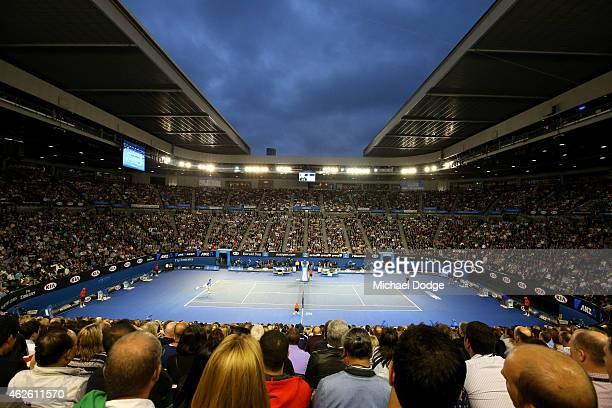 A general view of Rod Laver Arena as Novak Djokovic of Serbia serves in his men's final match against Andy Murray of Great Britain during day 14 of...