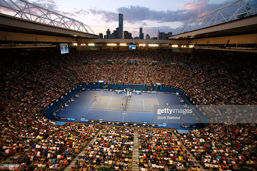 A general view of Rod Laver Arena as Rafael Nadal of Spain and Bernard Tomic of Australia play their first round match during day two of the 2014 Australian Open at Melbourne Park on January 14, 2014 in Melbourne, Australia.