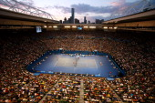 A general view of Rod Laver Arena as Rafael Nadal of Spain and Bernard Tomic of Australia play their first round match during day two of the 2014...