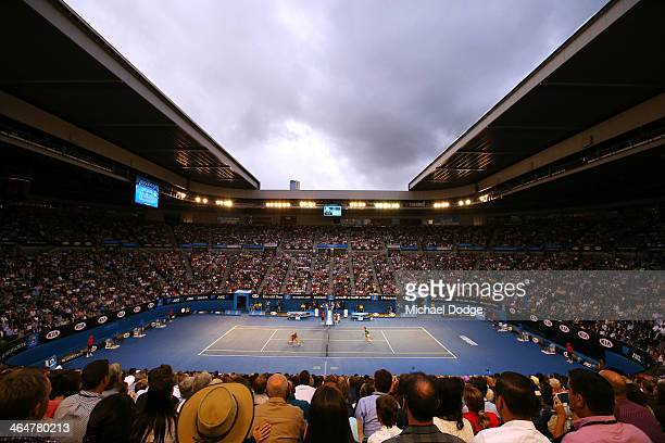 A general view of Rod Laver Arena as Rafael Nadal of Spain plays a backhand in his semifinal match against Roger Federer of Switzerland during day 12...